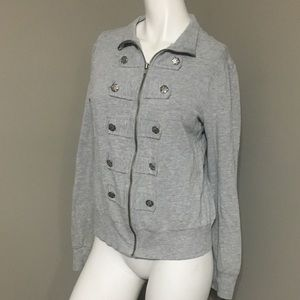 F21 zip up sweatshirt with decorative buttons